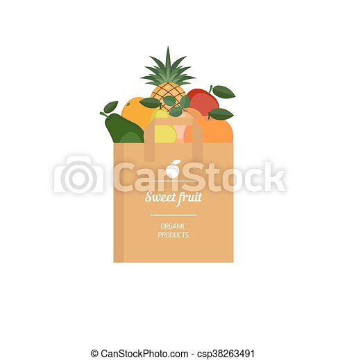 Paper bag with fresh fruit - csp38263491