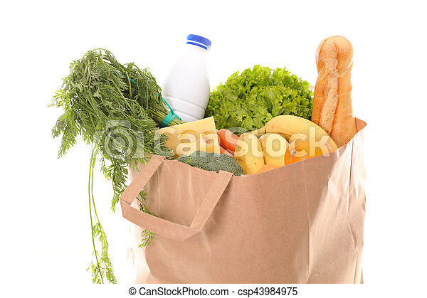 paper bag with groceries - csp43984975