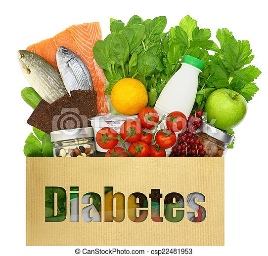 Paper bag with the word diabetes filled with healthy foods - csp22481953