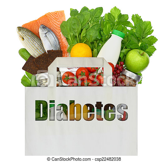Paper bag with the word diabetes filled with healthy foods - csp22482038