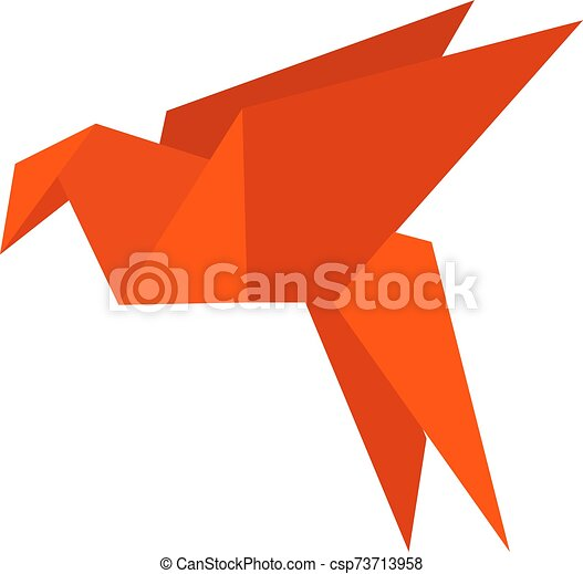 Paper bird, illustration, vector on white background. - csp73713958