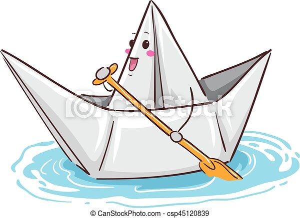 Paper Boat Mascot Paddling