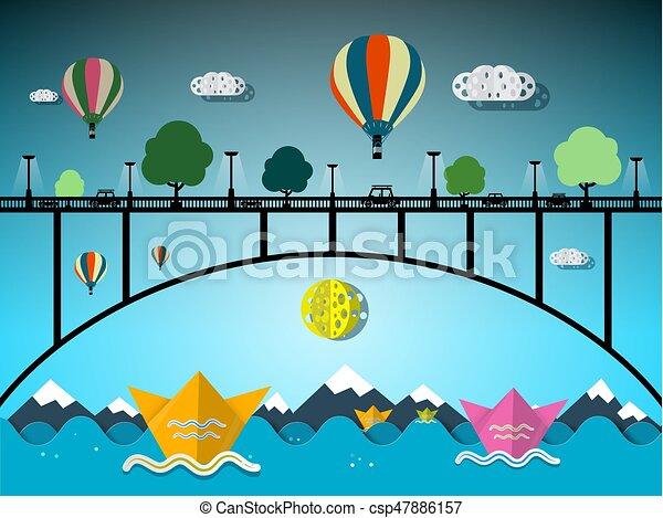 Paper Boats Under Bridge - csp47886157