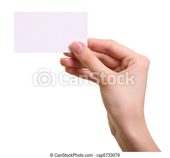 Paper card in woman hand isolated on white background - csp5733079