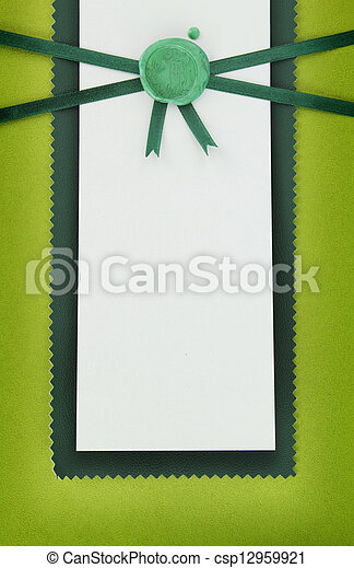 Paper card with green sealing wax stamp - csp12959921