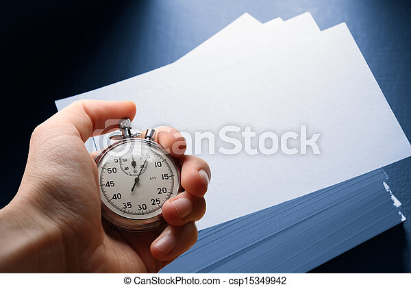 Paper cards on black and hand with stopwatch - csp15349942