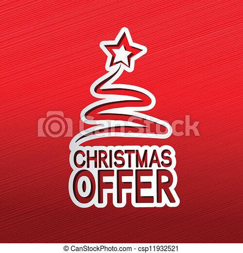 paper Christmas tree, sticker - Christmas offer - csp11932521