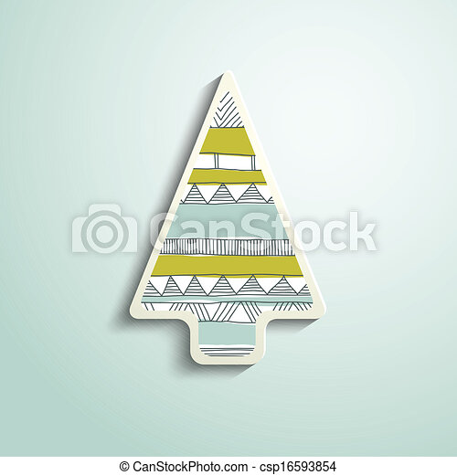 paper Christmas tree with folk pattern - csp16593854