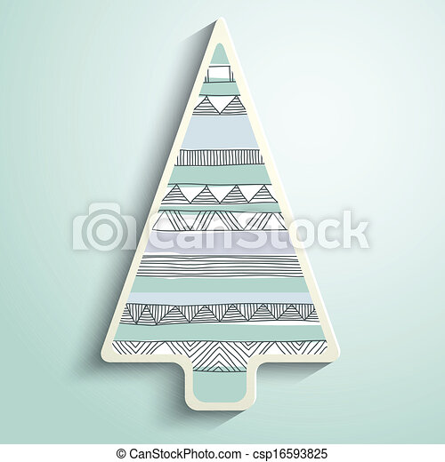 paper Christmas tree with folk pattern - csp16593825
