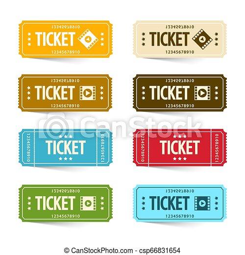 Paper Cinema Tickets Set, Vector Concert or Festival Ticket Symbols. Admit One Movie Icon Set. - csp66831654