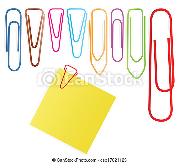 Paper clip set vector background with note paper - csp17021123