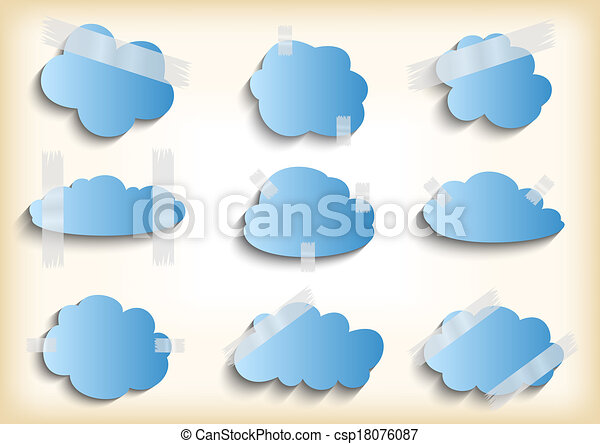 Paper cloud with scotch tape collection  - csp18076087