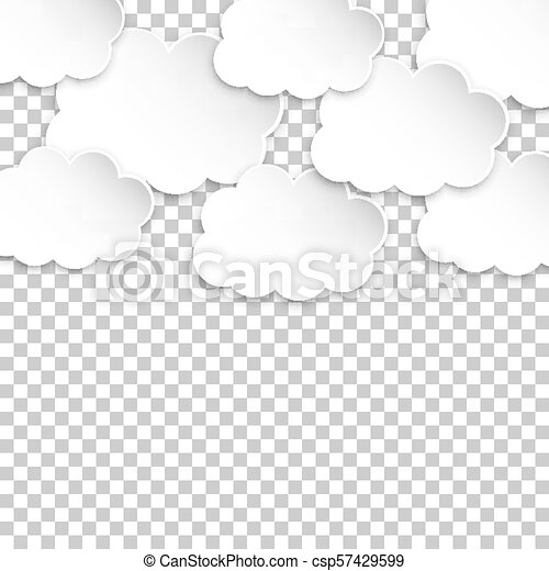 Paper clouds  artoon paper cloud illustration on isolated transparent  background  Air business concept