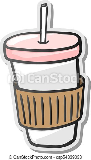 Paper coffee cup sticker csp54339033