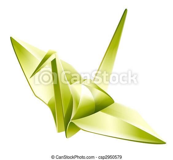 Paper Craneorigami Illustration Drawing Of Beautiful Green
