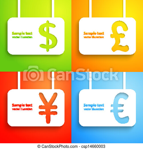 Paper Currency Signs Dollar Euro Yen And Pound Vector Vector