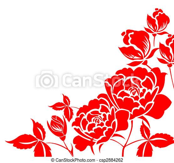 paper-cut, 花, 中国語, シャクヤク - csp2884262