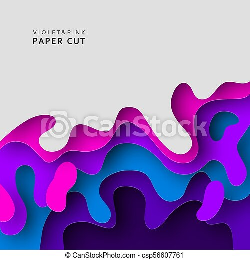 Paper Cut 3d Abstract Background With Shapes Design Template Layered Tunnel Wave In Violet And Blue Colors Vector