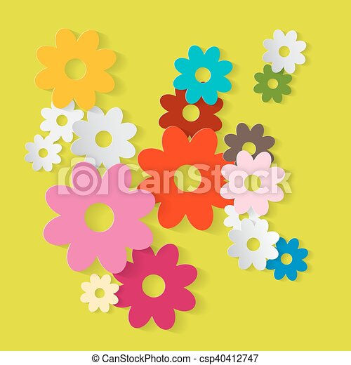 paper cut flowers colorful paper vector flower set on green background spring or summer cover design pattern