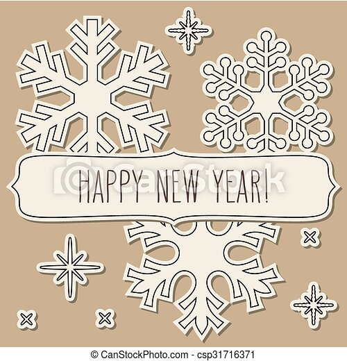Paper cut snowflakes frame and new year greetings. Paper cut ...