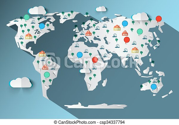 paper cut vector world map with clouds trees cars houses and circle labels icons