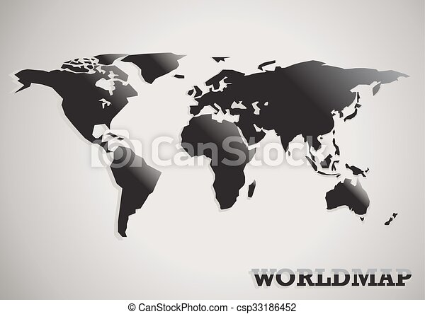 Paper cut world map black white and grey abstract vector clipart paper cut world map black white and grey abstract vector gumiabroncs Choice Image