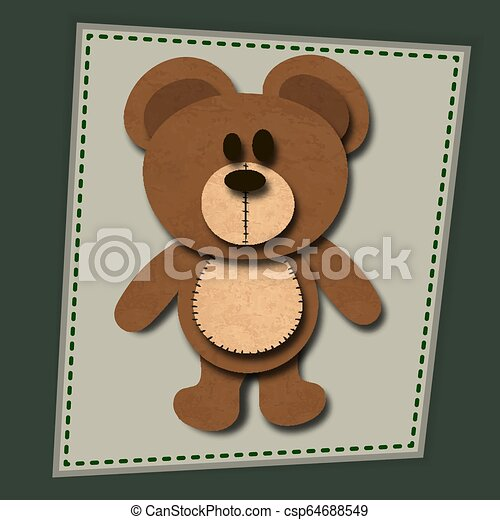 paper cute bear with shadows vector illustration - csp64688549