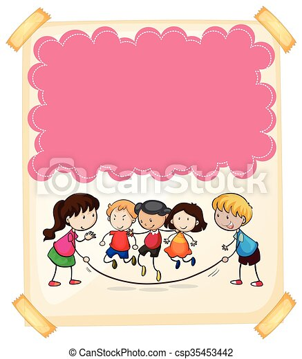 Paper design with children jumping rope - csp35453442