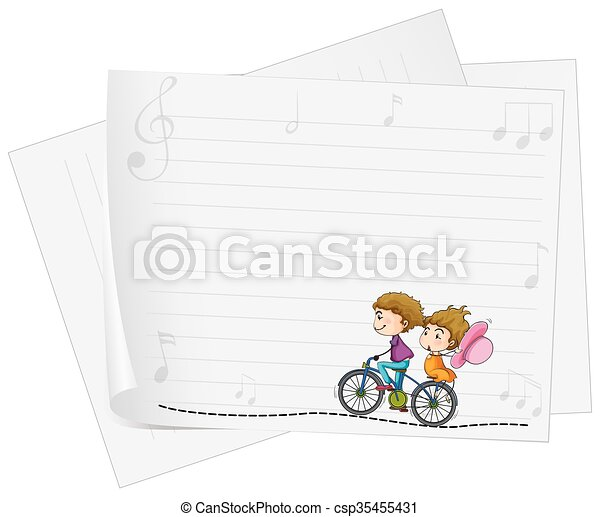 Paper design with love couple on bike - csp35455431