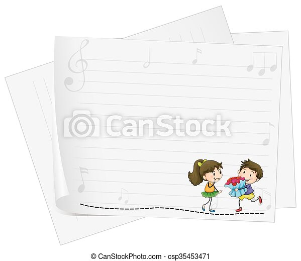 Paper design with lovers - csp35453471