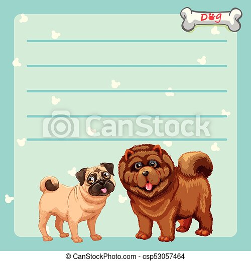 Paper design with two cute dogs - csp53057464
