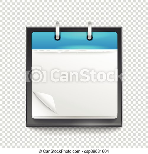 Paper diary on transparent background. Template for a text - csp39831604