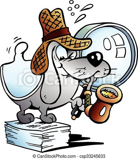 Paper Dog Detective Mascot - csp33245633