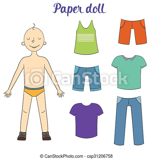 paper doll boy and clothes vector illustration paper doll rh canstockphoto ca vintage paper doll clipart boy paper doll clipart