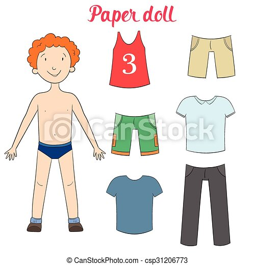 paper doll boy and clothes vector illustration paper doll