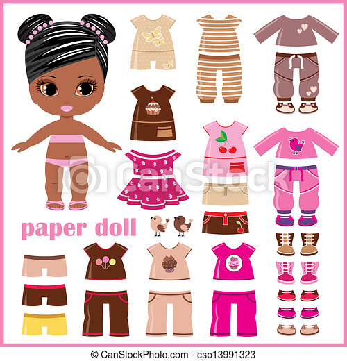 paper doll with clothes set vector illustration search clipart rh canstockphoto com boy paper doll clipart paper doll clipart for free