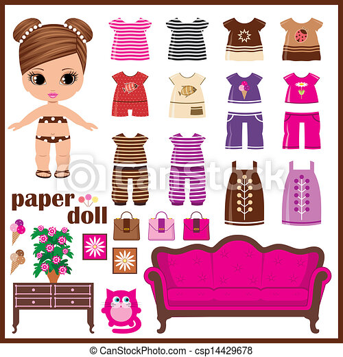 paper doll with clothes set vector vectors illustration search rh canstockphoto com paper doll clipart free paper doll clipart black and white