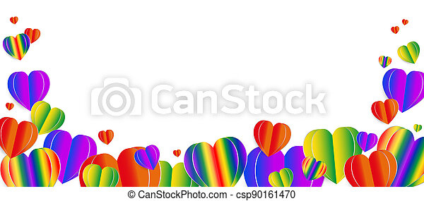Paper elements in shape of heart. Vector symbols of LGBT heart , homosexual love concept. - csp90161470