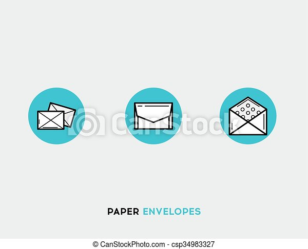 Paper envelopes flat illustration Set of line modern icons - csp34983327