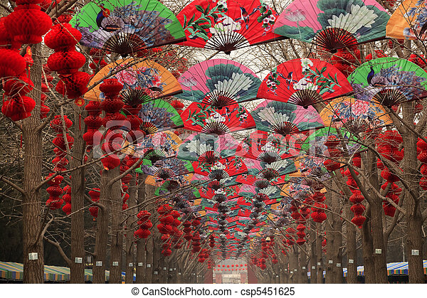 Paper Fans Lucky Red Lanterns Chinese Lunar New Year Decorations - csp5451625
