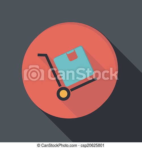paper flat icon, Truck with box. Logistic icon. - csp20625801