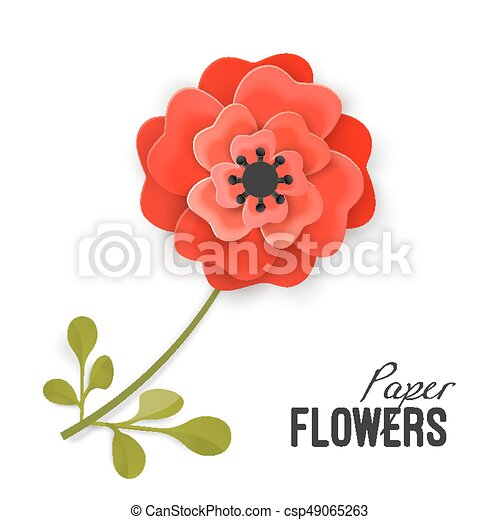 Paper flower lush red peony on small stem with leaves isolated paper flower lush red peony on small stem with leaves isolated vector illustration on white background painstaking origami work on flowers theme mightylinksfo