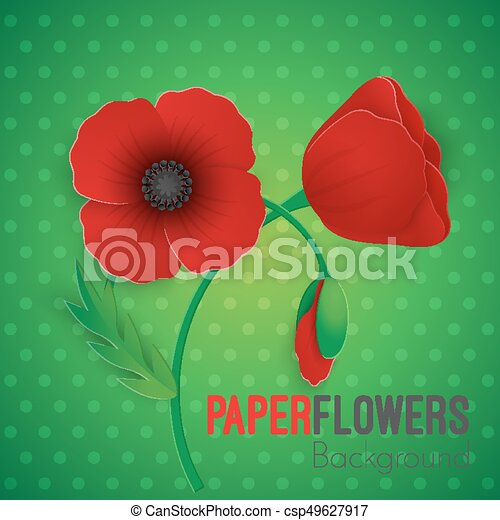 Paper flower realistic style illustration of red poppy paper flower paper flower realistic style illustration of red poppy mightylinksfo