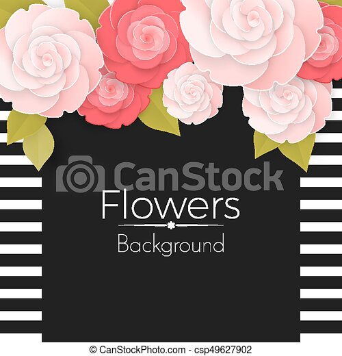 Paper flowers background with stripped frame black middle and roses paper flowers background with stripped frame black middle and roses csp49627902 mightylinksfo