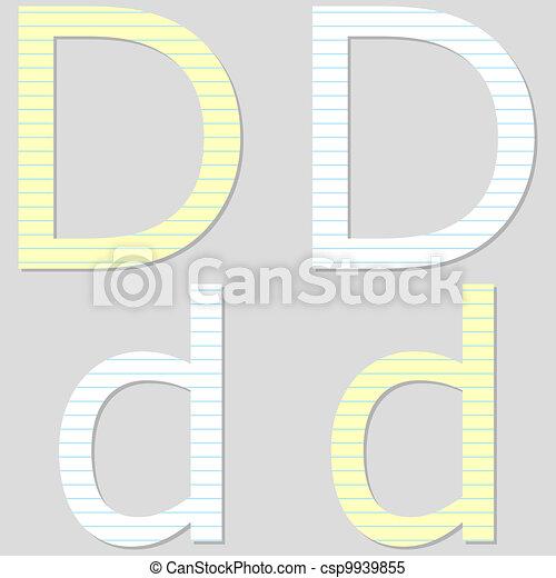 Paper Font Set Letter D - csp9939855