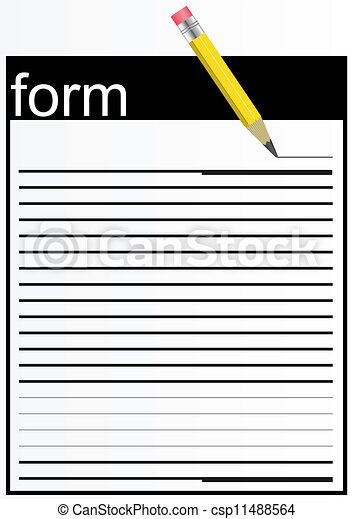 Clip Art Vector of Paper form. - A piece of paper, lined lines ...