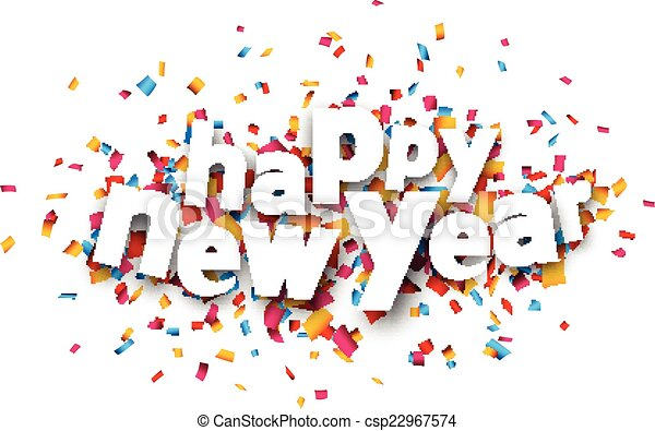vector paper happy new year confetti sign csp22967574