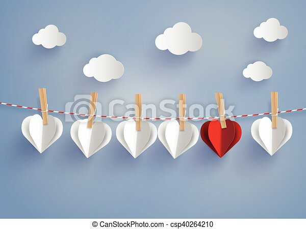 Line Drawing Heart Shape : Paper heart shape hanging on the lope with blue sky
