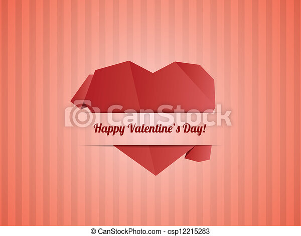 Paper Heart - Valentines day card vector - csp12215283