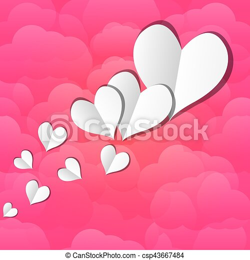 paper hearts on a background of clouds - csp43667484